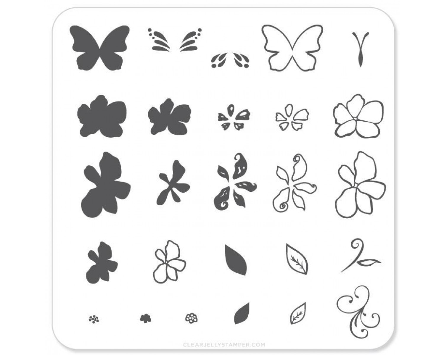 Clear Jelly Stamper - Flower and Butterfly