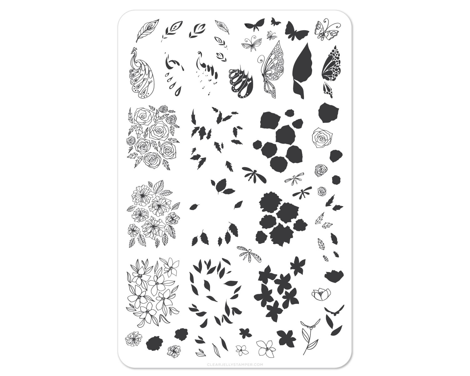 Clear Jelly Stamper - Peacocks Garden