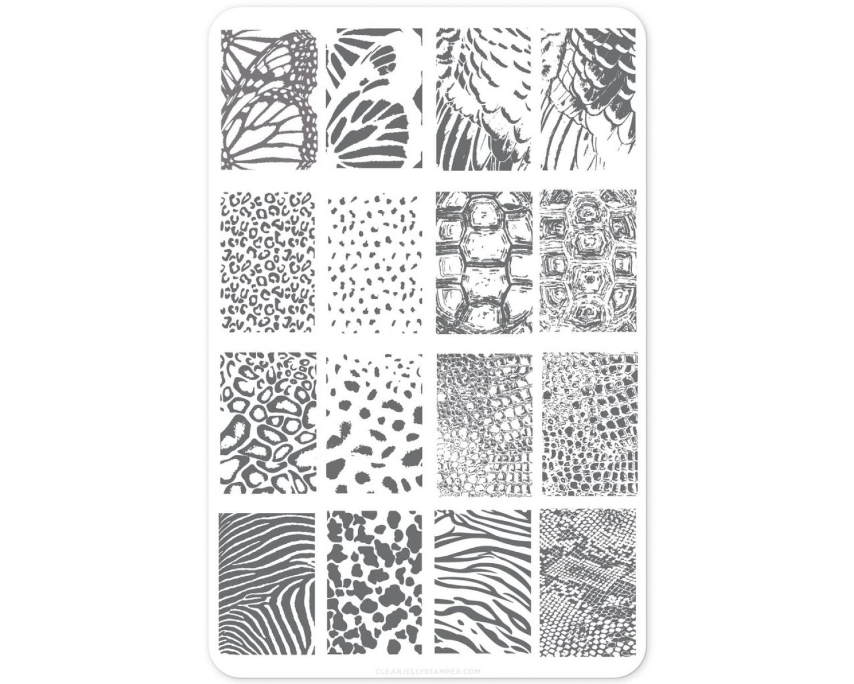 Пластина для стемпинга Clear Jelly Stamper - Texture Essentials - Wild Kingdom