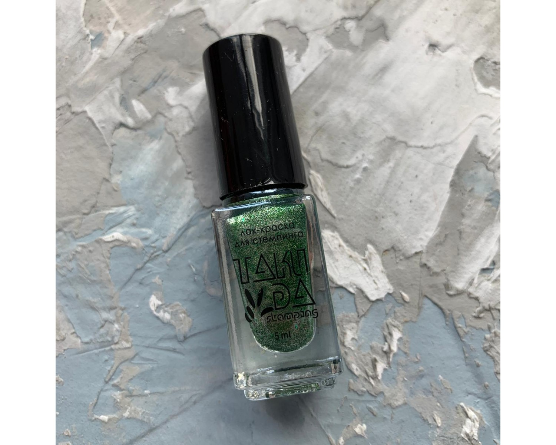 Лак для стемпинга TAKIDA 061 зеленый перл хром, 5мл