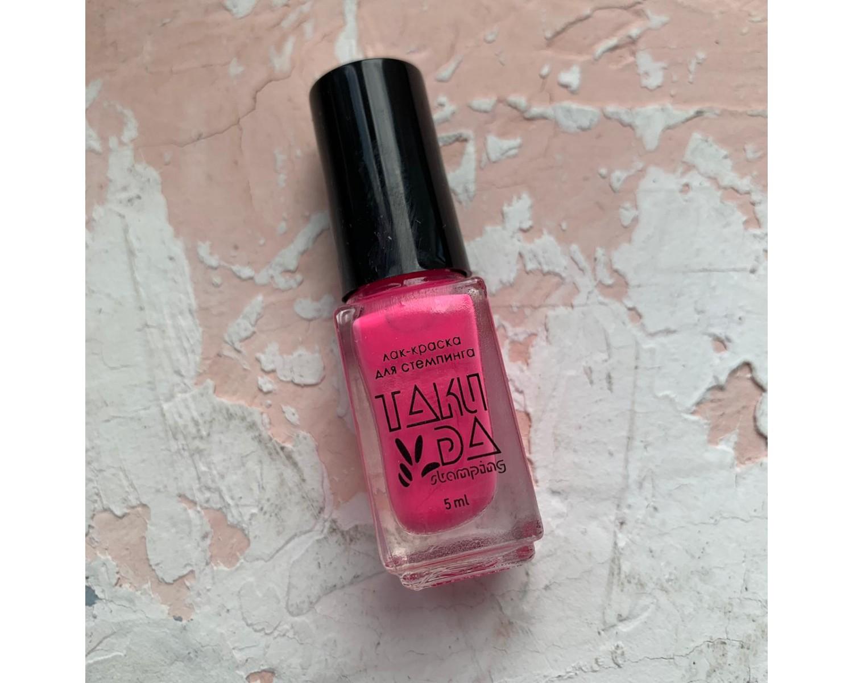 Лак для стемпинга TAKIDA N01 розовый неон, 5мл
