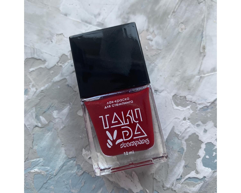 Лак для стемпинга TAKIDA 009 темно-красный, 10мл