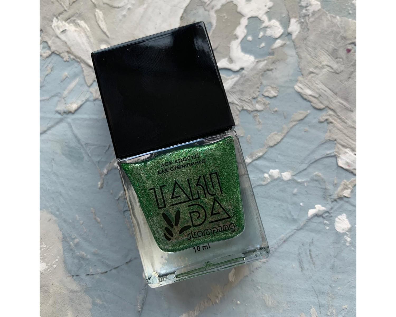 Лак для стемпинга TAKIDA 061 зеленый перл хром, 10мл
