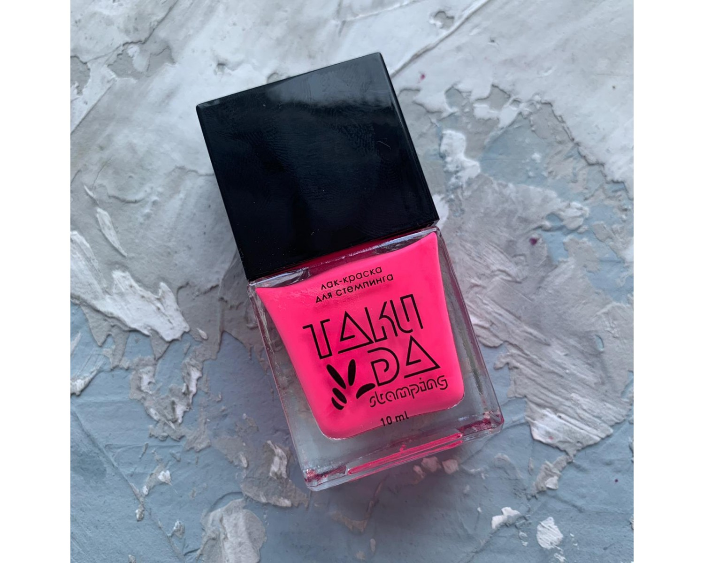 Лак для стемпинга TAKIDA N01 розовый неон, 10мл