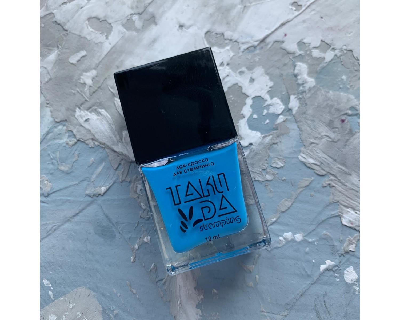 Лак для стемпинга TAKIDA N06 голубой неон, 10мл
