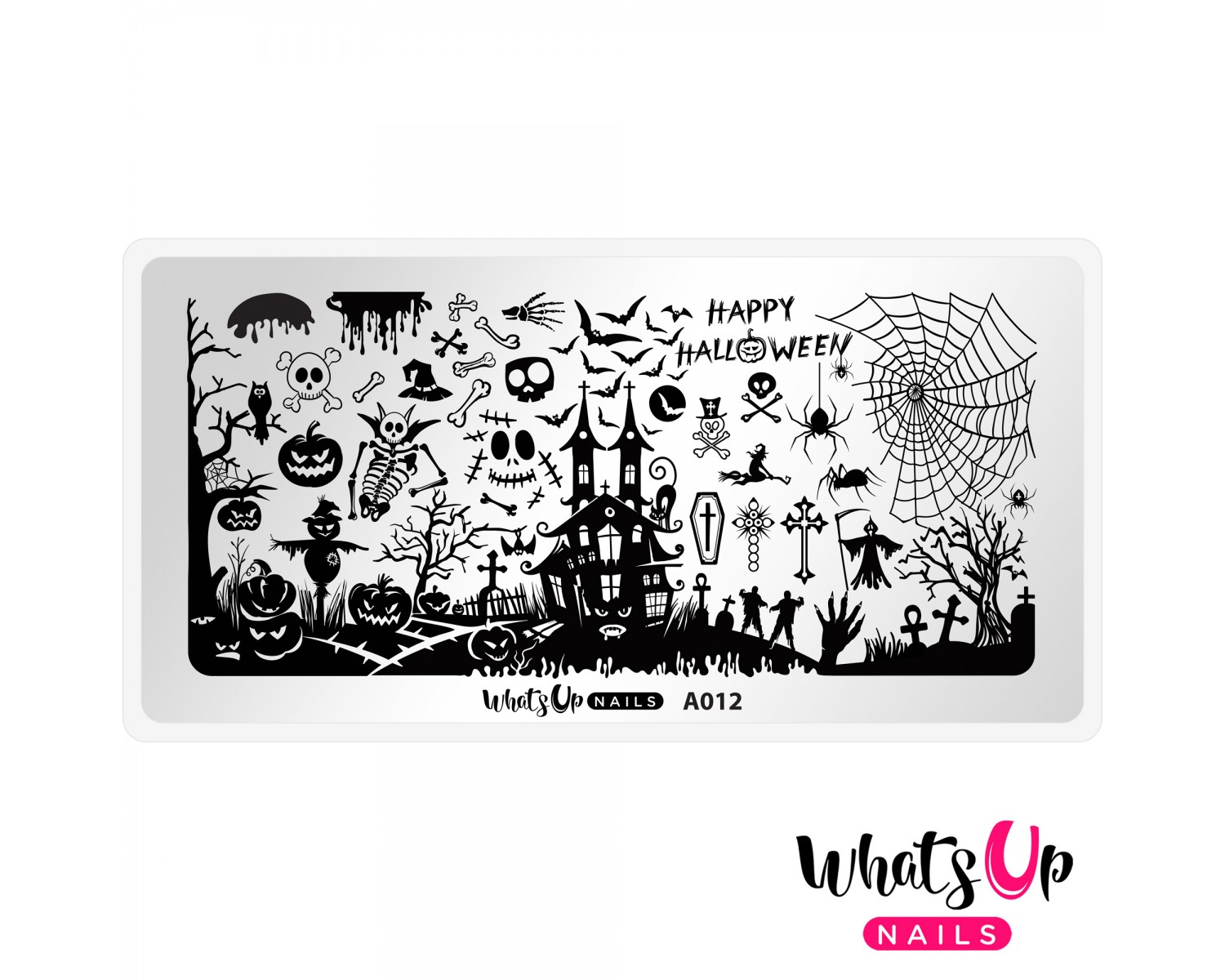 Пластина для стемпинга Whats Up Nails -  A012 Happy Halloween